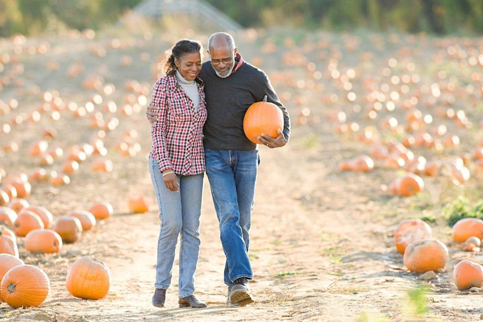 """<p>Level up your fall decor by bringing your sweetie to pick out pumpkins. Say hello to Linus at a nearby pumpkin patch while discovering whether your date prefers a gourd only a mother pumpkin could love or likes them perfectly symmetrical.</p><p><strong>RELATED:</strong> <a href=""""https://www.goodhousekeeping.com/holidays/halloween-ideas/g23480666/pumpkin-patch-near-me/"""" rel=""""nofollow noopener"""" target=""""_blank"""" data-ylk=""""slk:The Best Pumpkin Patch Near Me in Every State"""" class=""""link rapid-noclick-resp"""">The Best Pumpkin Patch Near Me in Every State</a></p>"""