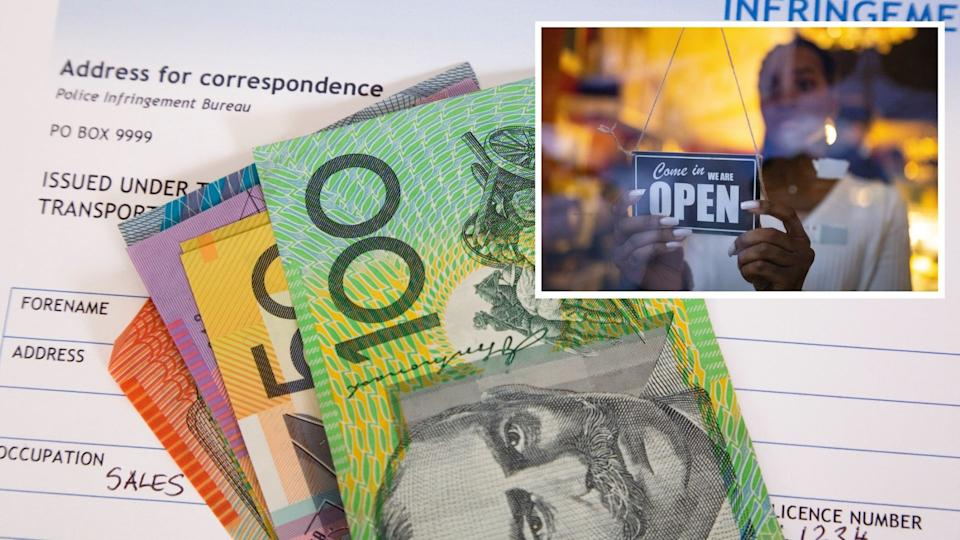 Australian fine notice with cash ntoes, image of woman flipping 'open' sign in cafe.