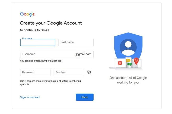 Google Drive google account sign up screenshot