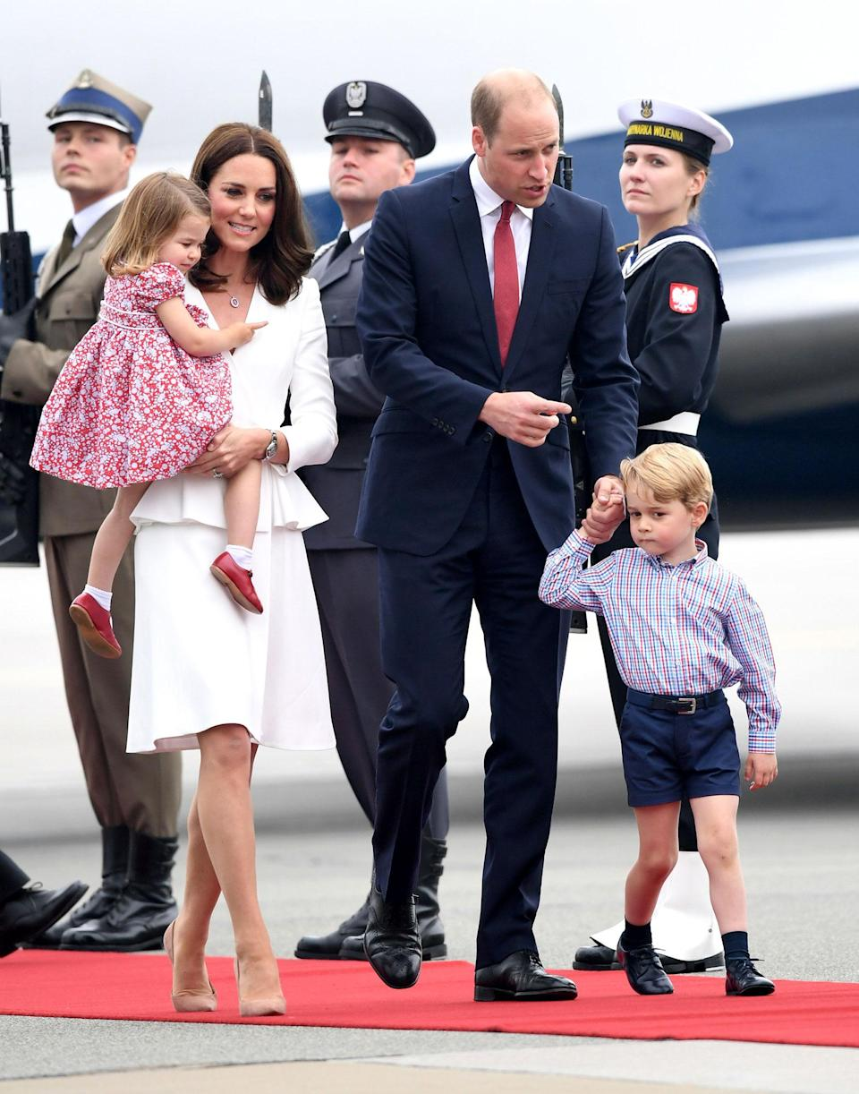 <p>The whole family land in Warsaw, for an official visit to Poland and Germany in July 2017.</p>