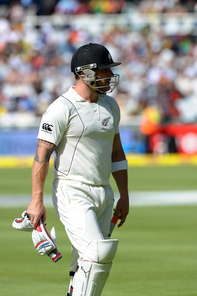 New Zealand captain Brendon McCullum walks off after being dismissed for 51 runs during their second innings on day two of the first Test match between South Africa and New Zealand, in Cape Town at Newlands on January 3, 2013. South Africa are all out for 347 runs. AFP PHOTO / ALEXANDER JOE