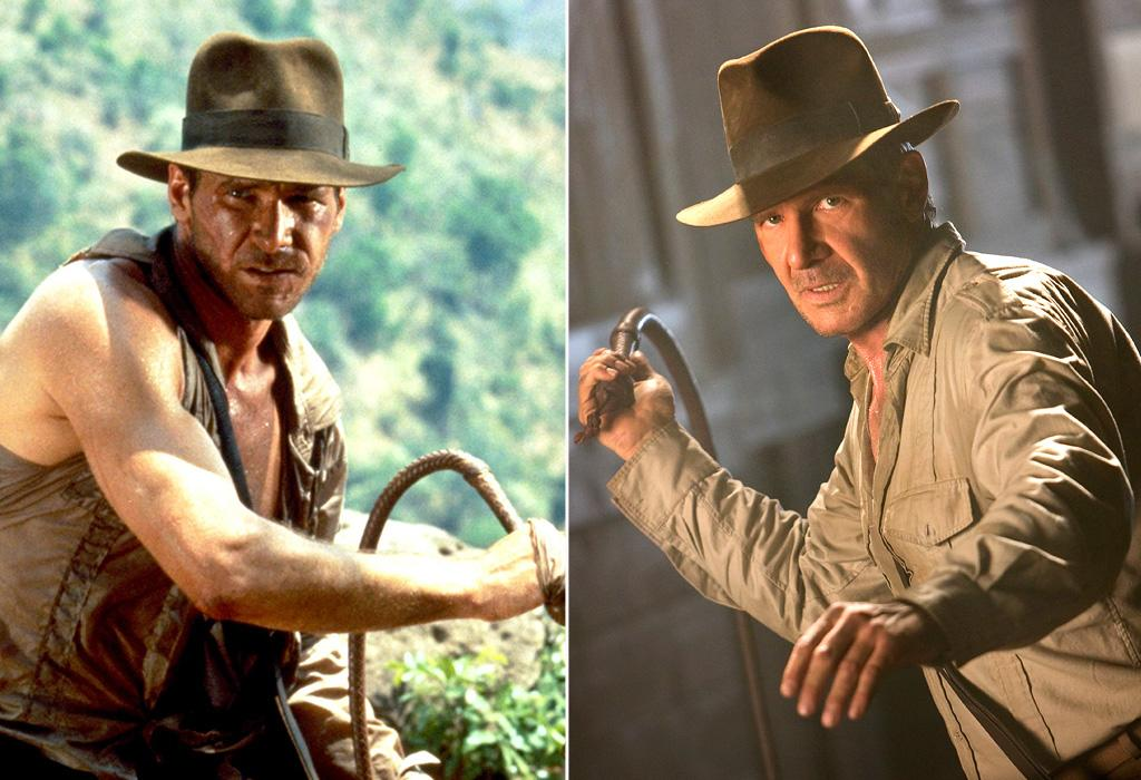 """FIRST MOVIE: <a href=""""http://movies.yahoo.com/movie/1800024141/info"""">Raiders of the Lost Ark</a> (1981)  LATEST MOVIE: <a href=""""http://movies.yahoo.com/movie/1808404510/info"""">Indiana Jones and the Kingdom of the Crystal Skull</a> (2008)   There was a 19-year gap between the third and fourth movies while Ford, Steven Spielberg and George Lucas worked on other projects, but there is talk they might do a fifth sometime soon."""