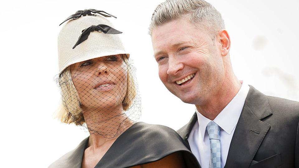 Pip Edwards and Michael Clarke, pictured here at Everest Race Day in October.