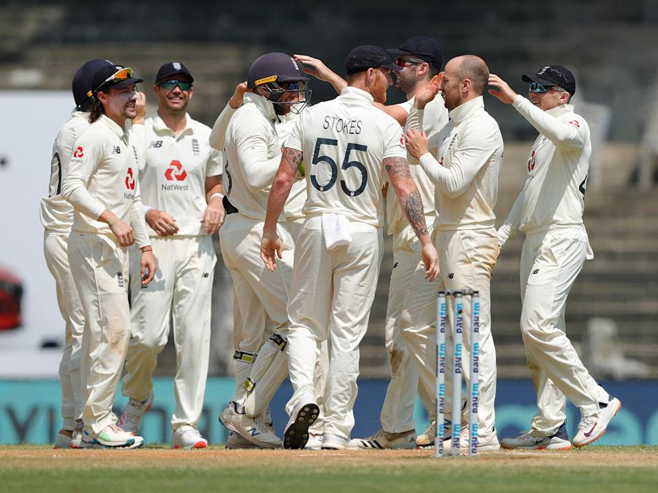 England celebrate on day five of the first Test in ChennaiECB