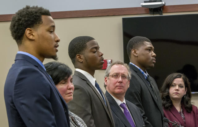 Former Michigan State University football players, from left, Demetric Vance, Donnie Corley and Josh King all pleaded guilty to a felony charge of seduction in a sexual assault case. (Cory Morse /The Grand Rapids Press via AP)