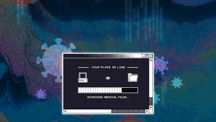 """An 80s-style computer browser window displays a file being transferred with the words """"Accessing medical files"""" beneath it."""