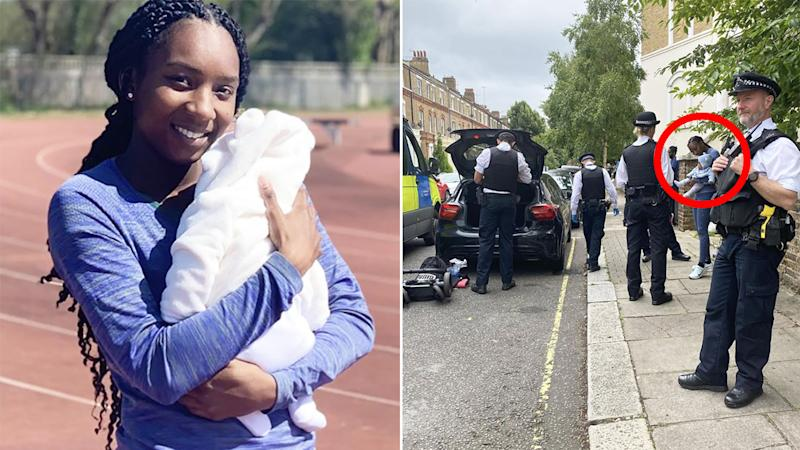 A 50-50 split image shows Bianca Williams on the left, and a picture depicting the scene after she was wrongly pulled over and searched by Metropolitan Police.