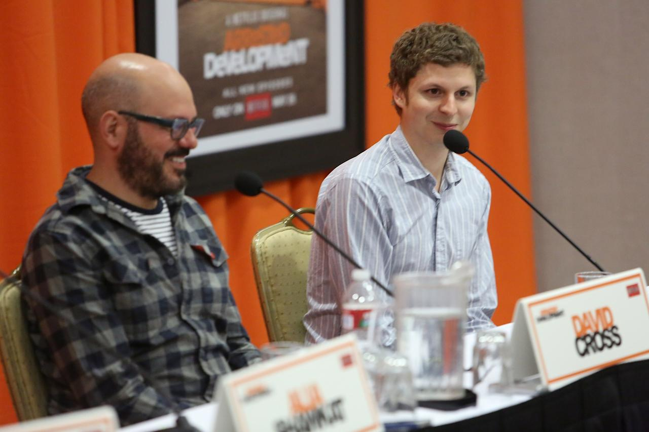 "UNIVERSAL CITY, CA - MAY 04:  Actors David Cross and Michael Cera attend The Netflix Original Series ""Arrested Development"" Press Conference at Sheraton Universal on May 4, 2013 in Universal City, California.  (Photo by Jesse Grant/Getty Images for Netflix)"