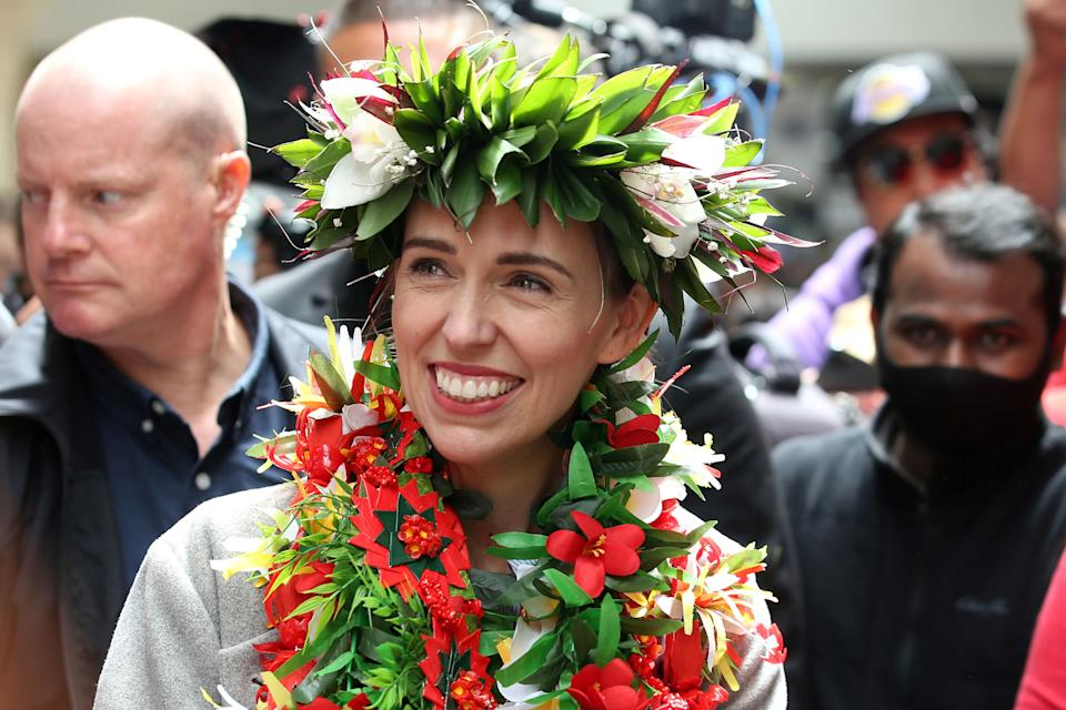 New Zealand's Prime Minister Jacinda Ardern smiles during a campaign outing at Mangere Town Centre and market in Auckland, New Zealand, October 10, 2020.  REUTERS/Fiona Goodall     TPX IMAGES OF THE DAY