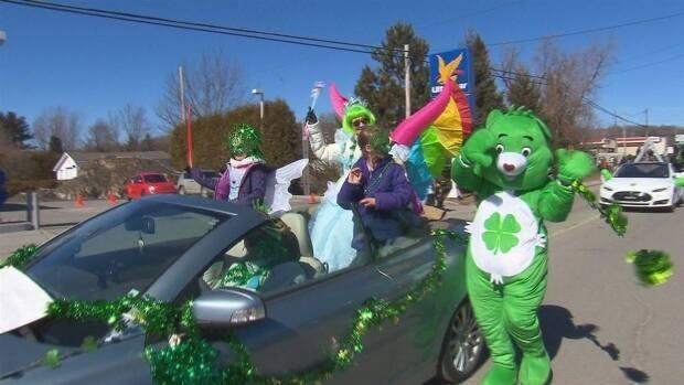 Good Luck Bear and friends participate in a St. Patrick's Day parade in Richmond, Que., in 2018. There won't be parades this year, but that doesn't mean you can't celebrate.