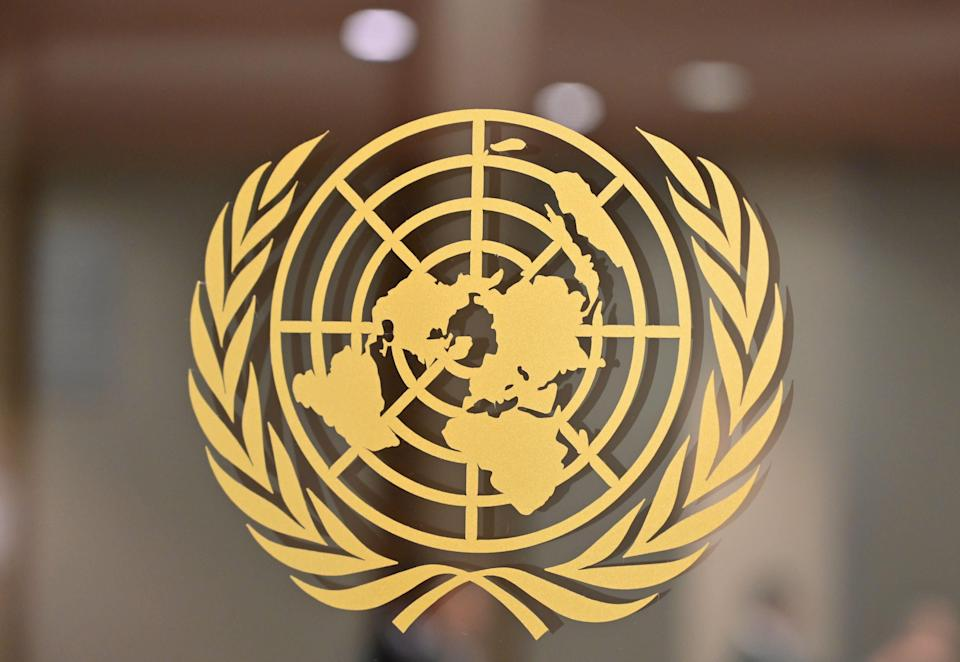 UN logo seen at its Headquarters in New York on 24 September, 2019 (AFP via Getty Images)