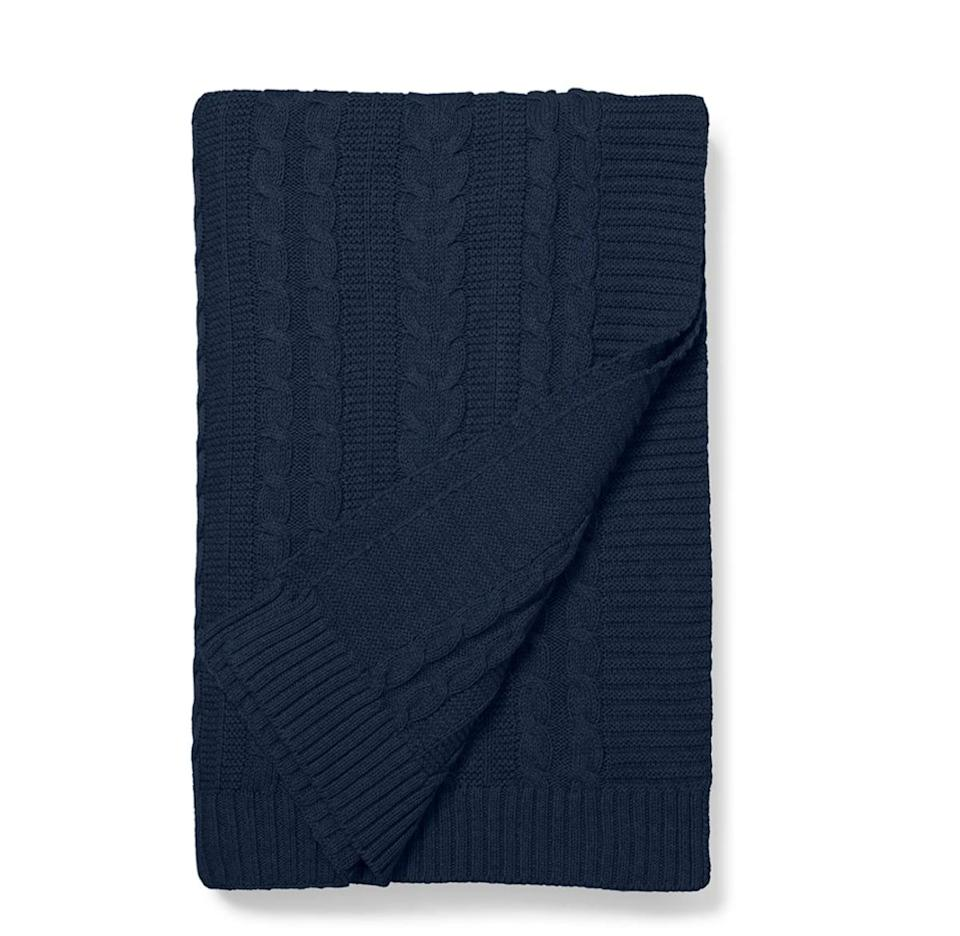 <p>Curl up in this textured <span>Cable Knit Organic Cotton Throw Blanket</span> ($125) that is just as soft as your favorite sweater.</p>