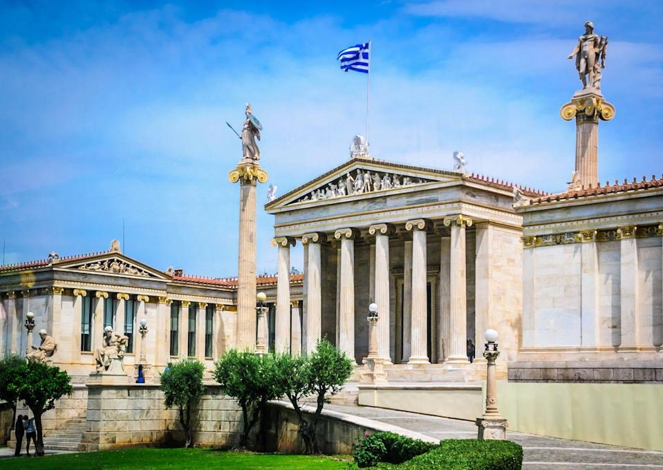 <p>Danish architect Theophil Hansen designed the neoclassical-style National Library of Greece in 1832. It was Johann Jakob Meyer who had the idea to create a National Library in Greece, given his admiration of Greek culture. Meyer's newspaper, Ελληνικά Χρονικά (meaning Greek Chronicles) was Greece's first newspaper, and it was financed by celebrated poet Lord Byron. Together, they advocated for Greece's independence, which was granted in 1821, and 11 years later, the National Library of Greece was founded.</p>
