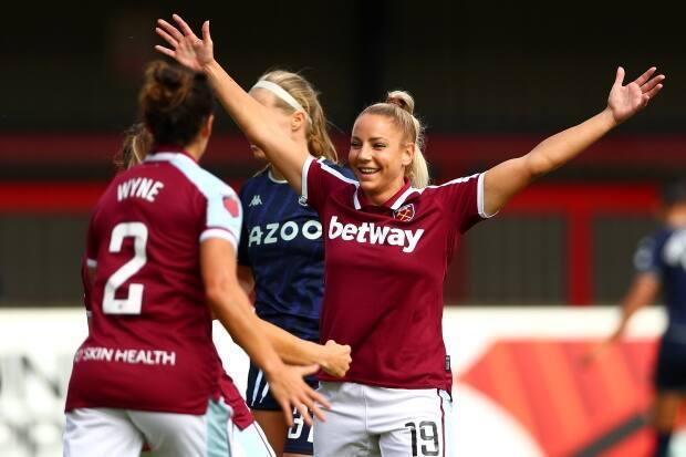 Canada's Adriana Leon, right, helped West Ham earn its first point of the new Women's Super League campaign with its first goal in a 1-1 against with Aston Villa on Saturday in London, England. (@BarclaysFAWSL/Twitter - image credit)