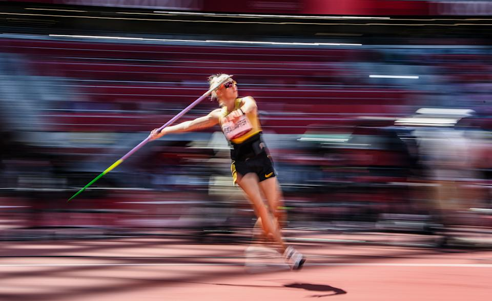 <p>Carolin Schafer of Team Germany competes in the Women's Heptathlon Javelin Throw on day thirteen of the Tokyo 2020 Olympic Games at Olympic Stadium on August 05, 2021 in Tokyo, Japan. (Photo by Matthias Hangst/Getty Images)</p>