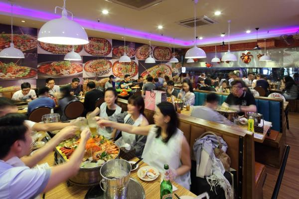 Dinner crowd at one of Bugis Cube's F&B outlets