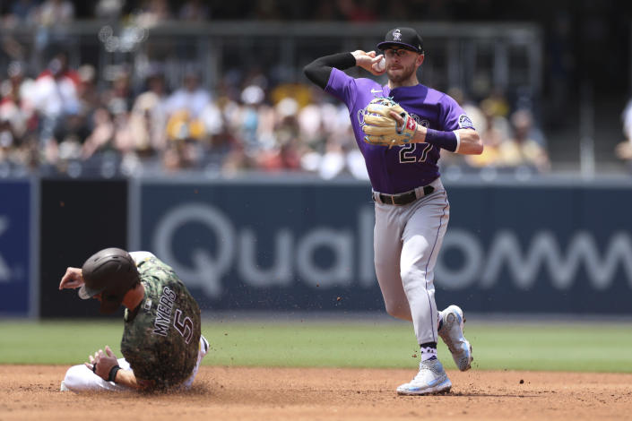 Colorado Rockies shortstop Trevor Story prepares to throw to first to complete a double play after forcing out Wil Myers at second base during the second inning of a baseball game Sunday, July 11, 2021, in San Diego. Trent Grisham scored on the play. (AP Photo/Derrick Tuskan)