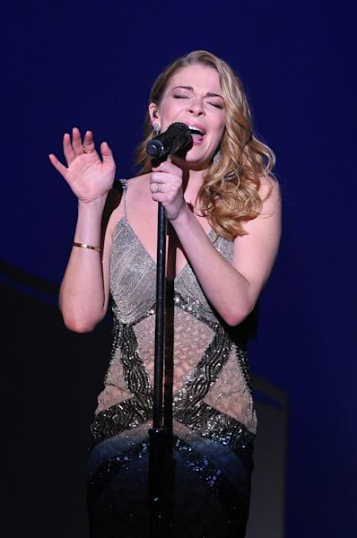 "Singer Leann Rimes performs at ""Play It Forward: A Celebration of Music's Evolution and Influencers"" at the Grammy Foundation's 15th Annual Music Preservation Project, Thursday, Feb. 7, 2013, in Los Angeles. (Photo by Vince Bucci/Invision/AP)"