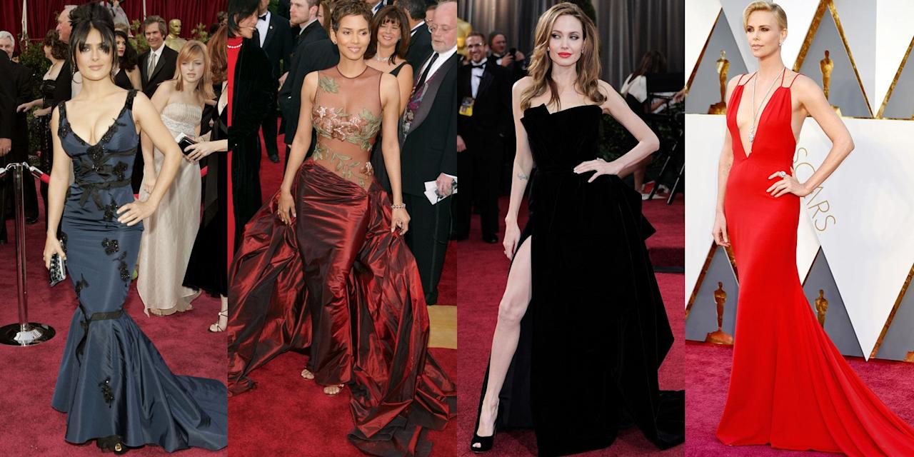 <p>We know that being sexy and having confidence is a state of mind, but these thigh-high slits and plunging necklines certainly don't hurt. From Cher's barely-there gown in 1988, to Angelina Jolie's Versace leg moment in 2012, click through for the sexiest gowns to ever hit the Academy Awards red carpet. </p>