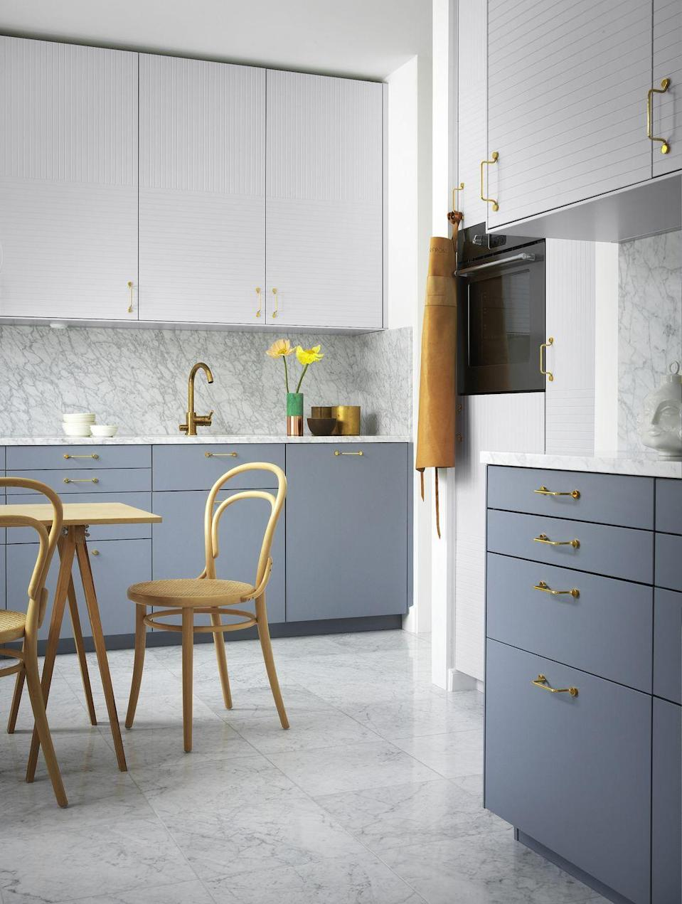 """<p>Replacing cabinet fronts is a clever and inexpensive way to give your kitchen an uplift. Firms such as Custom Fronts, Plykea and Superfront offer designs tailored specifically to Ikea cabinetry, while Husk has fronts for Ikea cabinets, as well as Howdens.</p><p>Pictured: Parallel fronts in Ashton Grey; No Pattern fronts in Cloudy Grey, <a href=""""https://superfront.com/uk/"""" rel=""""nofollow noopener"""" target=""""_blank"""" data-ylk=""""slk:Superfront"""" class=""""link rapid-noclick-resp"""">Superfront</a></p>"""