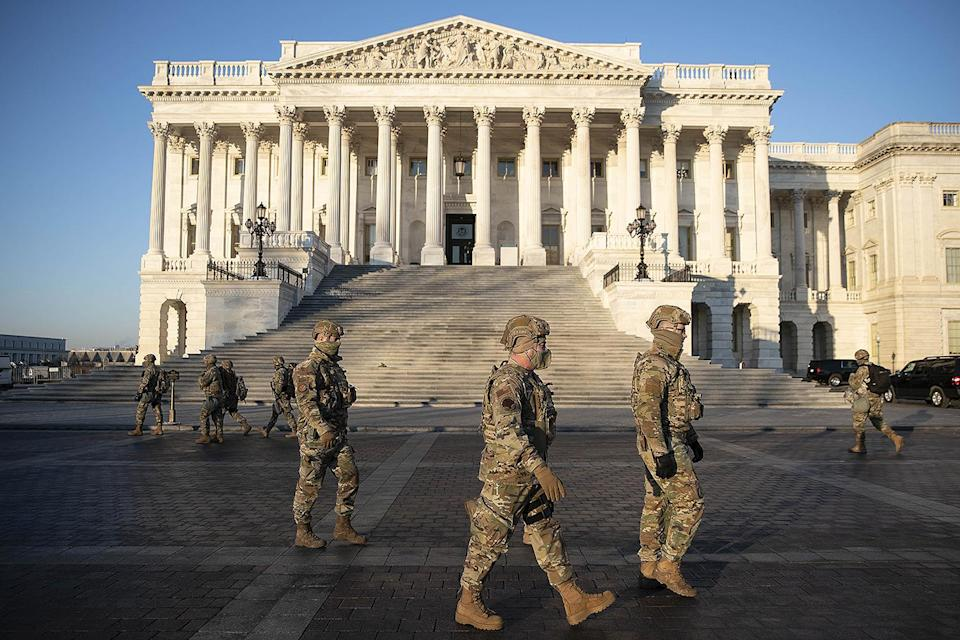 """<p>The chief of the National Guard Bureau, General Daniel Hokanson, told reporters he <a href=""""https://www.reuters.com/article/us-usa-election-inauguration/fbi-warns-of-armed-protests-ahead-of-inauguration-idUSKBN29G0Q5"""" rel=""""nofollow noopener"""" target=""""_blank"""" data-ylk=""""slk:expected about 10,000 troops in Washington"""" class=""""link rapid-noclick-resp"""">expected about 10,000 troops in Washington</a> by Jan. 16 to help provide security, logistics and communications.</p>"""