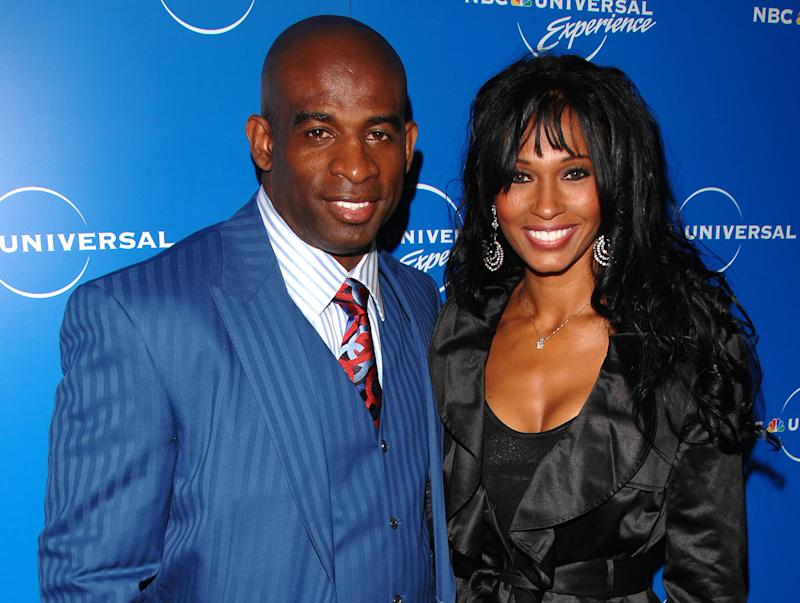 In a May 12, 2008  photo Deion Sanders and Pilar Sanders attend the NBC Universal Experience at Rockefeller Center in New York. An inmate listing on Collin County, Texas,  website early Tuesday April 24, 2012, shows that Pilar Sanders was arrested Monday and booked into the county jail on the family violence charge.   (AP Photo/Peter Kramer)