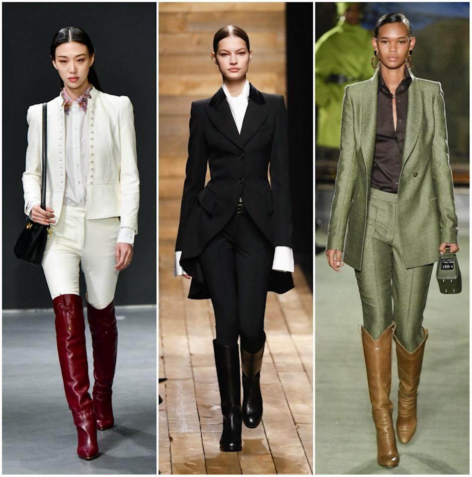 """<p>Taking cues from traditional equestrian gear, fitted suits paired with <a href=""""https://www.glamour.com/story/knee-high-boots?mbid=synd_yahoo_rss"""" target=""""_blank"""">knee-high riding boots</a> were the new uniform on the Fall 2020 runway. If you're not into the full-suited look, try pairing your boots with jeans or trousers, <a href=""""https://www.glamour.com/story/knee-high-boots?mbid=synd_yahoo_rss"""" target=""""_blank"""">as seen on these street style stars.</a></p> <p><em>From left: Tory Burch, Michael Kors, Brandon Maxwell</em></p>"""