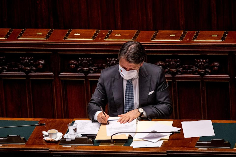 ROME, ITALY - JULY 29: Italian Prime Minister Giuseppe Conte wearing a protective mask attends the debate at the Camera dei Deputati (Chamber of Deputies) about further initiatives related to the Covid-19 emergency, on July 29, 2020 in Rome, Italy. Today Italian Prime Minister Giuseppe Conte reported at the Camera dei Deputati (Chamber of Deputies) to ask to vote on the extension of the state of emergency related to the Covid-19 emergency. (Photo by Antonio Masiello/Getty Images) (Photo: Antonio Masiello via Getty Images)