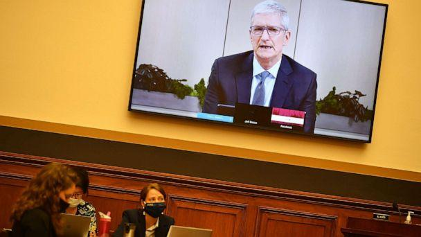 PHOTO: Apple CEO Tim Cook testifies before the House Judiciary Subcommittee on Antitrust, Commercial and Administrative Law on 'Online Platforms and Market Power' in the Rayburn House office Building on Capitol Hill in Washington, DC on July 29, 2020. (Mandel Ngan/POOL/AFP via Getty Images)