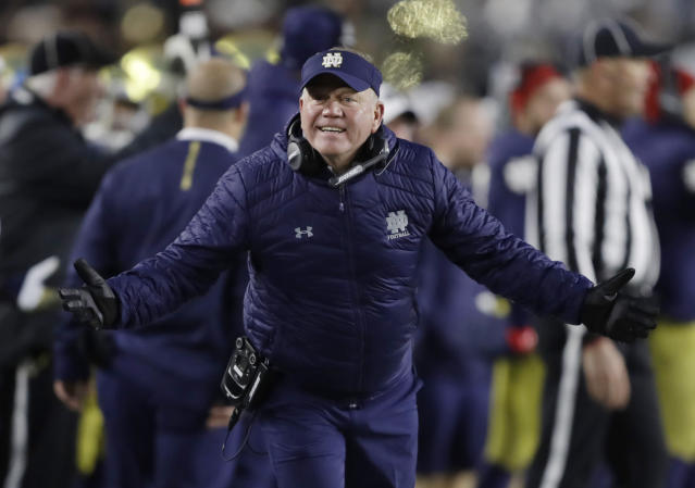 Notre Dame head coach Brian Kelly has the Irish in prime position for a spot in the College Football Playoff spot. (AP)
