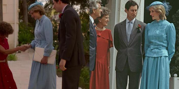 """<p>Princess Diana's visit to New Zealand carried a great deal of political weight, so her sartorial choices while meeting Prime Minister Bob Hawke were hugely important. <em>The Crown </em>recreated the blue belted suit dress that Princess Diana wore for her visit, right down to the bow detail on her belt. </p><p><strong>RELATED</strong>: <a href=""""https://www.goodhousekeeping.com/life/entertainment/g3675/princess-diana-royal-protocol/"""" rel=""""nofollow noopener"""" target=""""_blank"""" data-ylk=""""slk:The Many Ways Princess Diana Broke Royal Protocol"""" class=""""link rapid-noclick-resp"""">The Many Ways Princess Diana Broke Royal Protocol</a></p>"""