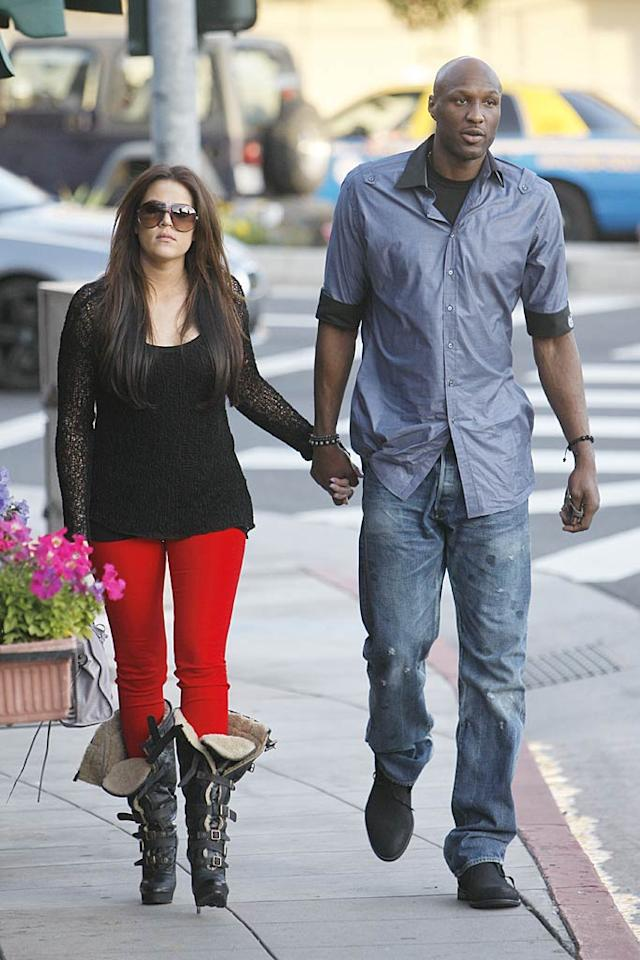 "The couple -- who'll star in their own reality show, ""Khloe & Lamar,"" starting next month -- headed home after dining out. What do you think of Khloe's footwear? <a href=""http://www.infdaily.com"" target=""new"">INFDaily.com</a> - March 15, 2011"