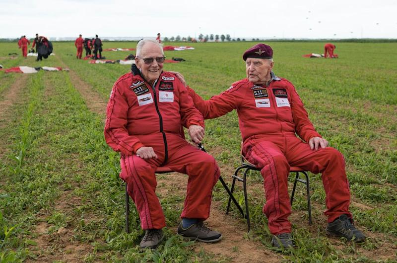 The pair, now in their 90s, first jumped out onto Normandy in 1944 (PA)