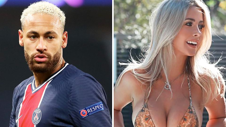Brazilian football star Neymar has been asked to front prosecutors over reports he will host a New Year's party for up to 500 people, including model and influencer Kiki Passo. Pictures: Getty Images/Instagram