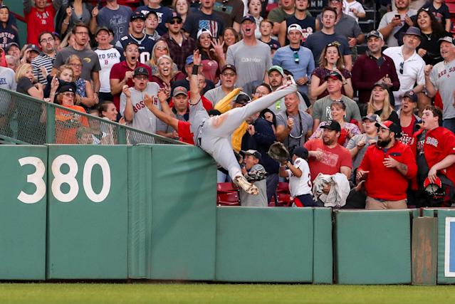 Baltimore Orioles' Stevie Wilkerson took a sensational catch to deny Jackie Bradley at Fenway Park. Mandatory (Paul Rutherford-USA TODAY Sports TPX IMAGES OF THE DAY)