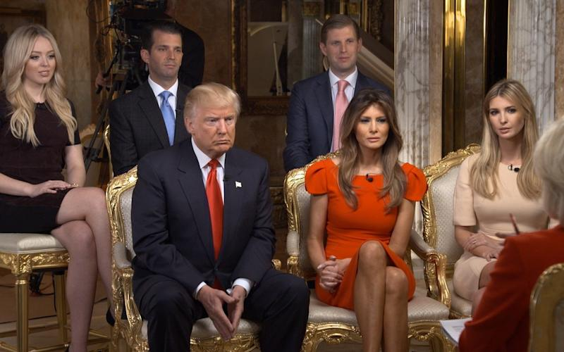Donald Trump and his family appearing on CBS in November 2016 - CBS