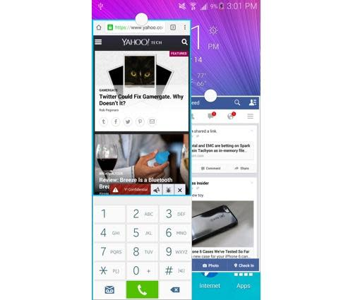 Pop-up view on a Galaxy Note 4 smartphone