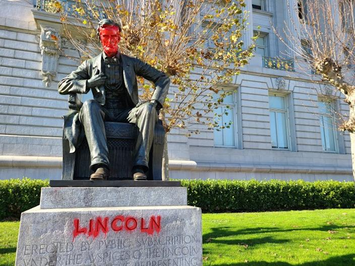 A statue of Abraham Lincoln was vandalized in front of San Francisco City Hall.
