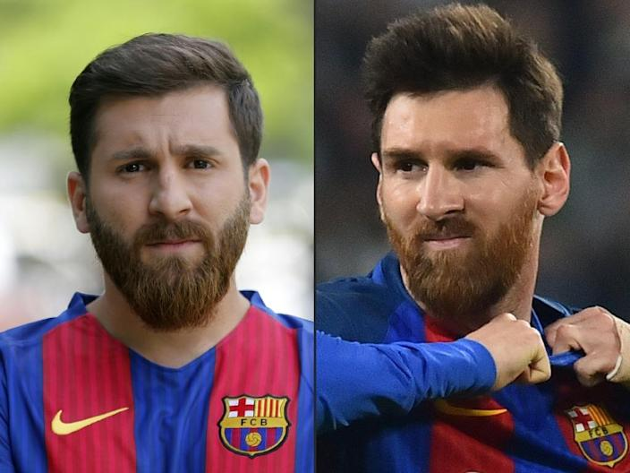 This combination of pictures created on May 08, 2017 shows (L) Reza Parastesh, a doppelganger of Barcelona and Argentina's footballer Lionel Messi (R) (AFP Photo/Atta KENARE, Giuseppe CACACE)