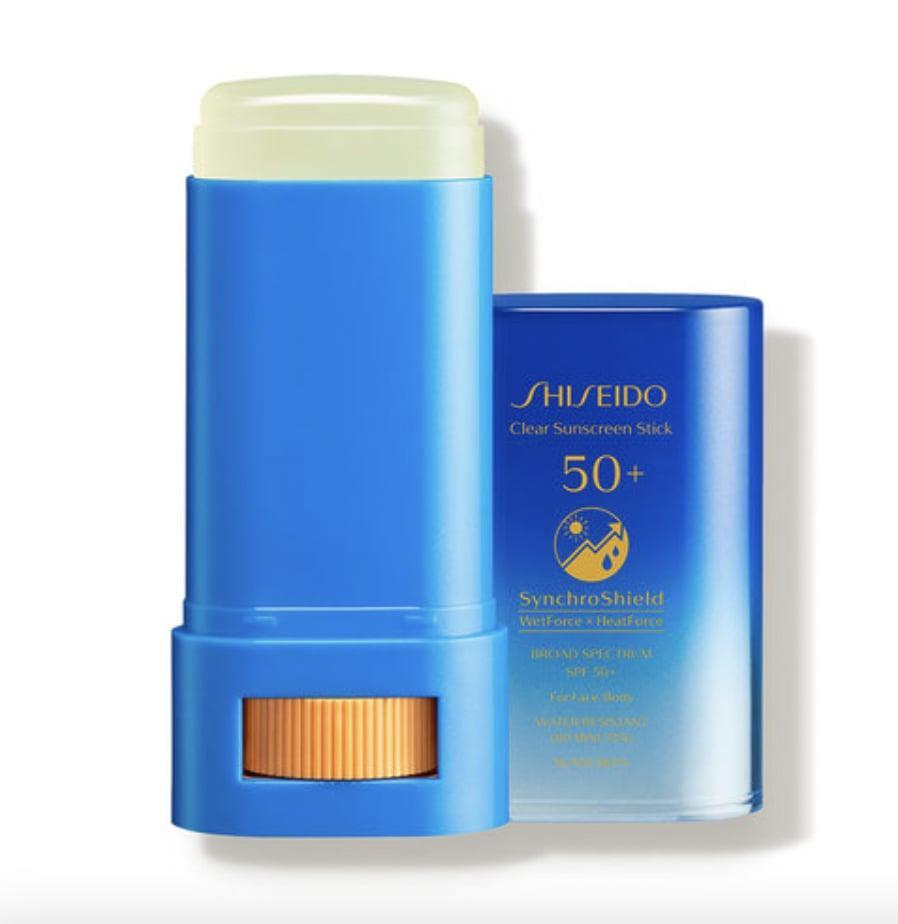 <p>The <span>Shiseido Clear Sunscreen Stick SPF 50+</span> ($29) goes on completely clear and can be used under and over makeup.</p>