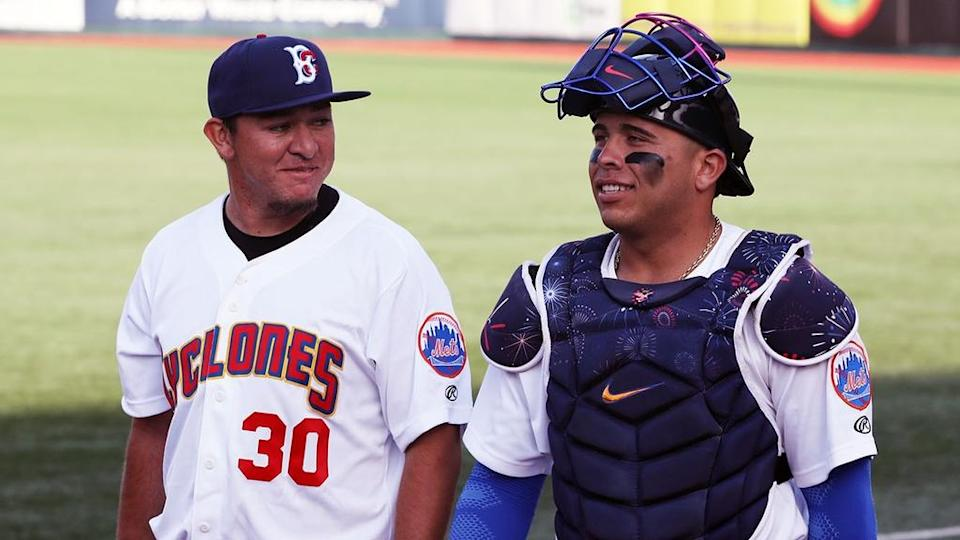 Mets prospect Francisco Alvarez with Oscar Rojas while playing for Brooklyn Cyclones