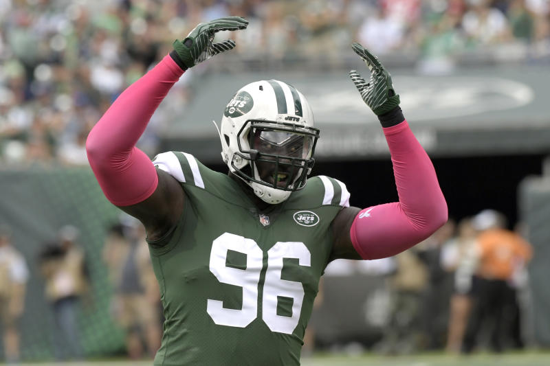 New York Jets defensive end Muhammad Wilkerson (96) was cut by the team after two underachieving seasons. (AP)