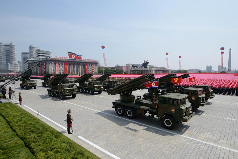 North Korean rocket launchers pass through Kim Il-Sung square during a military parade marking the 60th anniversary of the Korean war armistice in Pyongyang on July 27, 2013 (AFP Photo/Ed Jones)
