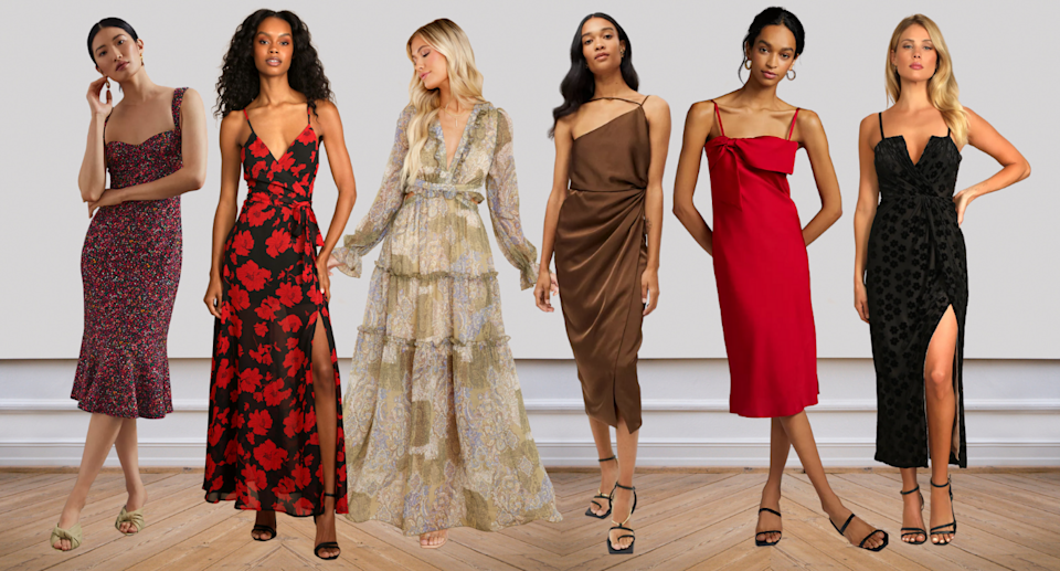 models in floral, red, black, brown, midi, maxi wedding guest dresses for fall