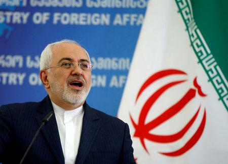 FILE PHOTO: Iranian Foreign Minister Zarif speaks to media in Tbilisi