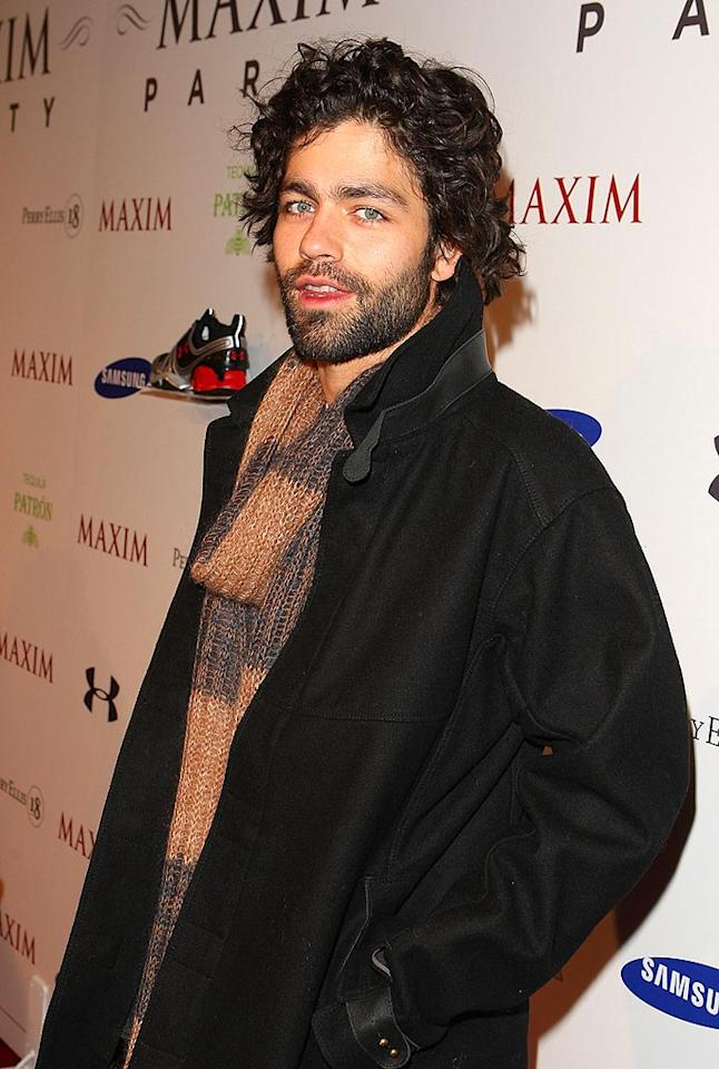 """Entourage"" star Adrian Grenier sports his trademark scruff and mop top on the red carpet. Jason Merritt/<a href=""http://www.wireimage.com"" target=""new"">WireImage.com</a> - February 1, 2008"