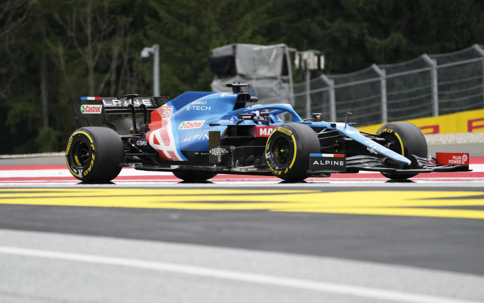 Alpine driver Zhou Guanyu of China steers his car during the first free practice session for the Austrian Formula One Grand Prix at the Red Bull Ring racetrack in Spielberg, Austria, Friday, July 2, 2021. The Austrian Grand Prix will be held on Sunday. (AP Photo/Darko Bandic)