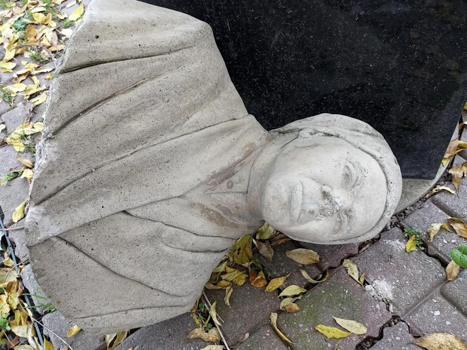 A bust of Harriet Tubman outside the Salem Chapel BME Church in St. Catharines, Ont., was smashed during the Thanksgiving weekend. (Submitted by Salem Chapel BME Church - image credit)