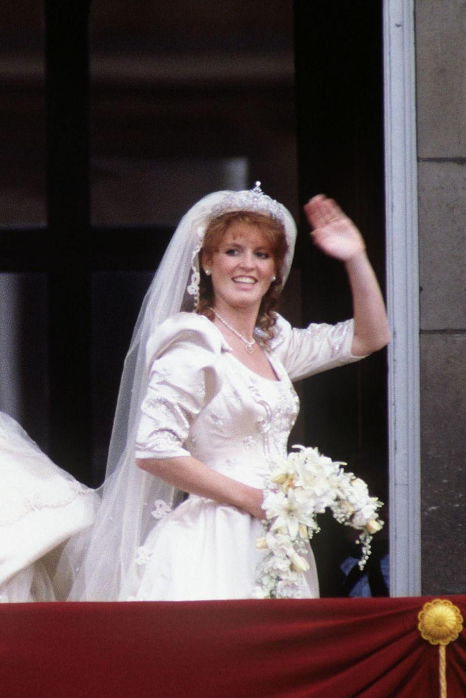 "<p><strong>Wedding date: </strong>July 23, 1986</p><p><strong>Wedding tiara:</strong> Sarah wore a diamond and platinum tiara for her wedding to <a href=""https://www.townandcountrymag.com/society/tradition/a12838338/prince-andrew-facts/"" rel=""nofollow noopener"" target=""_blank"" data-ylk=""slk:Prince Andrew, the Queen's second son."" class=""link rapid-noclick-resp"">Prince Andrew, the Queen's second son.</a> The tiara, which is often called the York Diamond Tiara, was purchased by the Queen and Duke of Edinburgh from Garrard. <a href=""http://orderofsplendor.blogspot.co.uk/2016/07/tiara-thursday-york-diamond-tiara.html"" rel=""nofollow noopener"" target=""_blank"" data-ylk=""slk:It is part of a"" class=""link rapid-noclick-resp"">It is part of a</a> necklace, earring, and bracelet set given to Sarah by the Queen and Prince Philip as a wedding gift. </p>"