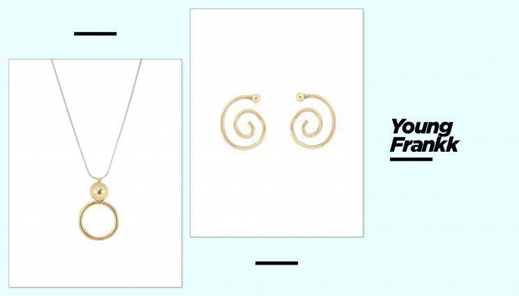 The Young Frankk Circle Orb necklace, left, and Spiral Earrings. (Photo: Courtesy of Young Frankk)